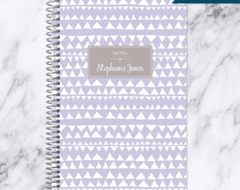NOTEBOOK personalized journal | lined notebook | personalized gift | stocking stuffer | spiral bound notebook | lavender tribal pattern