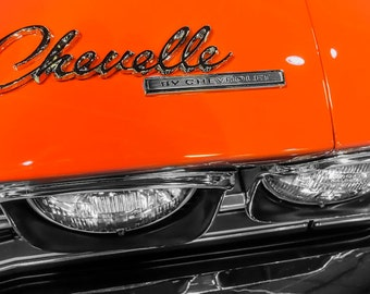 Orange Chevrolet Chevelle Front End Photography, Automotive, Auto Dealer, Muscle, Sports Car, Mechanic, Boys Room, Garage, Dealership Art