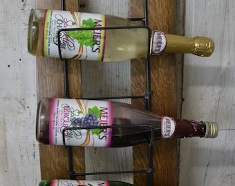Wine Rack, Towel Holder, Wine Barrel Stave Rack, Hanging Wire Rack on Staves, Dark Wood, Reclaimed