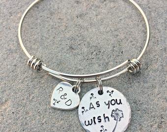 As You Wish Bracelet, As You Wish Bangle, Couple Initials Heart Charm, Romantic Jewelry, Dandelion Bracelet, Dandelion Jewelry, Movie Quote
