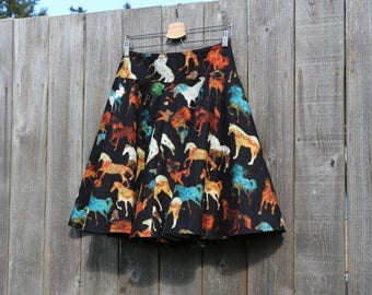 Novelty Circle Skirt, What describes you, there's a fabric to match, Hores, Horse Skirt, Custom Made in ALL lengths and sizes petite to plus