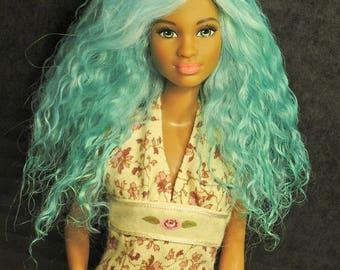 Barbie  Doll Wig  Size 4 Tibetan Lamb Mohair Fur OOAK Aqua