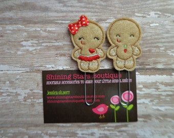 Planner Accessories - Light Brown, Red, And White Gingerbread Girl With A Bow And Boy Cookies Paperclip Or Bookmark Set - Holiday Accessory