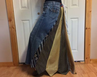 Long Denim Skirt/Necktie Skirt/Plus Size/Blue Jean Skirt/Stretch Denim/Recycled Upcycled Repurposed Clothing/Womens Size Large to XL/Tall