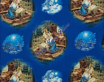 """Quilting Treasures """"Oh Holy Night"""" Nativity Jesus Mary Joseph Manager #1649-23302-W Cotton Fabric Priced Per 1/2 Yd 18"""" x 44"""""""