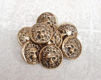 Lion Face Buttons, 19mm 3/4 inch - Carved Antiqued Gold Tone Lion Buttons - 8 VTG NOS Lightweight High Relief Gold Metal Lion Buttons MT108