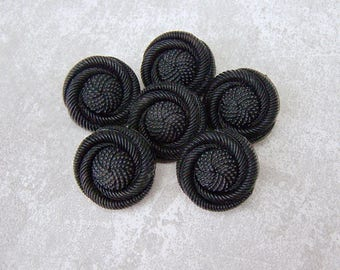 Black Shank Buttons, 19mm 3/4 inch - Carved Elegant Black Swirl Flower Buttons - 6 VTG NOS Nestled Black Floral Plastic Buttons PL335