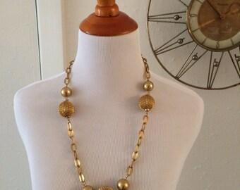Vintage 60s 70s Gold Baubles Chain Link Necklace Disco Divia