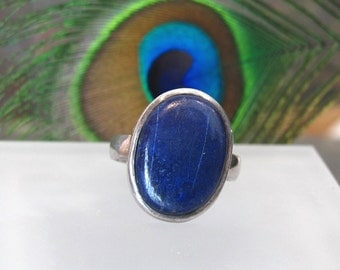 Lapis Lazuli Ring ~ Large Stone Ring ~ Large Oval Sterling Silver Statement Ring ~ Royal Blue Lapis Cabochon Ring - Size 8