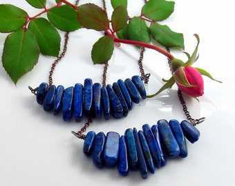 Lapis Lazuli Stone Bar Pendant, Natural Lapis Blue Pendant, Gemstone Bar Pendant, WillOaks Studio Stacked Stones Series, Unique Gift for Her