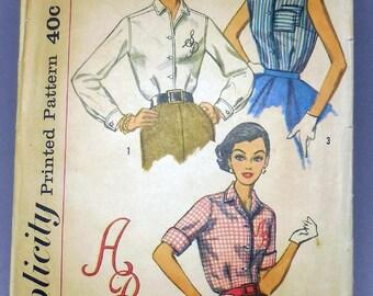 Simplicity 2195 - Vintage Blouse Pattern w/ Monogram Applique - 1950s Vintage Fashion, Sleeveless Top, Country, Dressy, Button-Down DIY