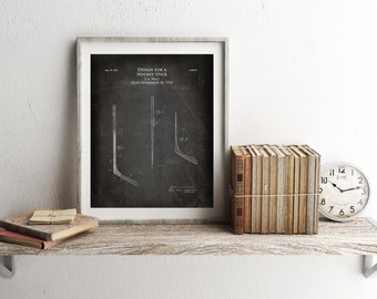 Design for a Hockey Stick, sports patent prints, ice hockey stick, blueprint art, sports decor, hockey fan gift, husband gift, boys room