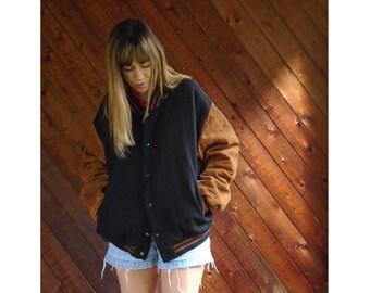 Suede Brown + Navy Wool Varsity Jacket - Vintage 90s - L