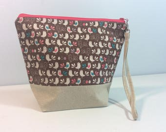 Small Project bag - Cute little birds with beige handle
