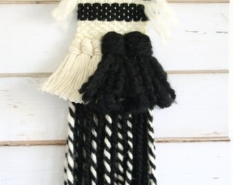 Hand woven wall hanging \ B&W weaving wall art