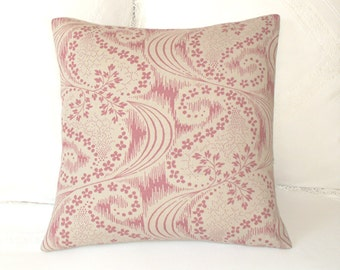 Kate Forman Pink Celeste Linen Cushion, Throw Pillow Cover, UK Designer Rose Pink Floral Paisley on Natural Linen, Cottage Chic 18 x 18