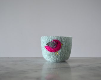felt wool bowl - pale blue bowl with hot pink and grey bird - nature inspired - catch all - container - felted wool bowl by the Felterie
