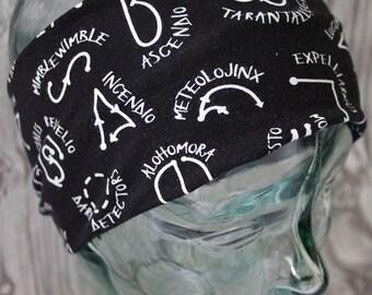 Wizard Wand headband, HP, sweatband, hair accessory, yoga headband, turban knot, twist headband, knot headband, geeky gift, jogging headband