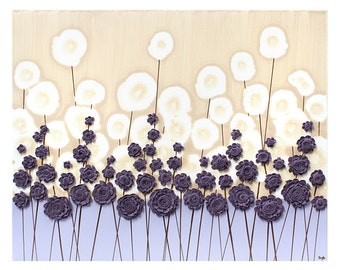 Purple Art Modern Flower Painting - Textured Acrylic on Canvas - Small 20x16