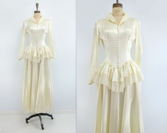 1940s Wedding Dress 40s Wedding Gown Vintage Wedding Dress Ivory Satin Dress Peplum Wedding Dress 40s Satin Lace Dress  Starlet Wedding s