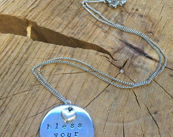 Bless Your Heart - Hand Stamped Necklace