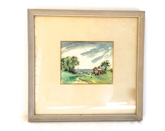 Small Vintage Pastoral Watercolor Painting~ Small framed painting of a Cabin by the ocean~ Country decor~ Sweet little painting~ Signed Rusl