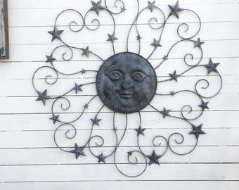 Metal Sun Wall Decor, 38' , Galvanized Metal,  Dark Bronze Decor, Decorative Sun and Stars, Nautical Wall Art, Texas Star, Garden, Patio