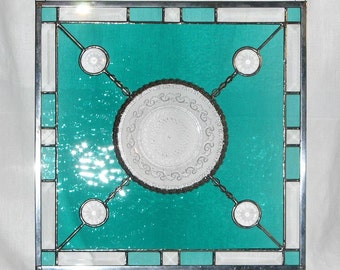 Vintage Plate and Emerald Blenko Stained Glass Panel  -  FREE Shipping & Insurance in the USA