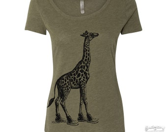 Womens GIRAFFE Scoop Neck Tee  - T Shirt S M L XL XXL (+ Colors)