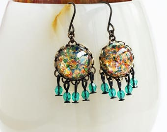 Rainbow Glass Opal Dangle Earrings Vintage Opal Small Chandelier Dangle Earrings Green Gold Jewelry