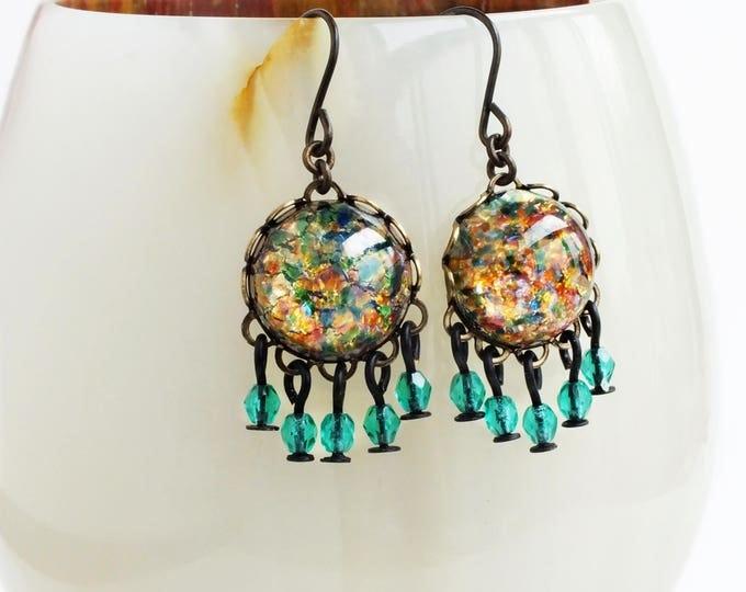 Rainbow Glass Opal Dangle Earrings Vintage Opal Small Chandelier Dangle Earrings Green Gold Jewelry