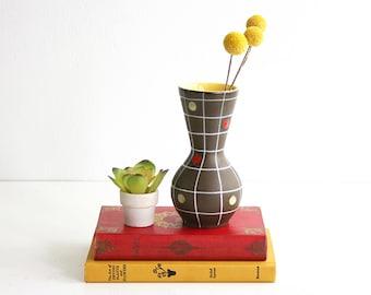 Mid Century Modern Vase from Austria / Austrian Pottery Vase / Geometric West German Pottery Vase / Mid Century Vase