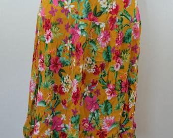 Vintage BOHO flower skirt crepe like hand made