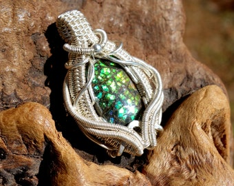 Canadian Ammolite Wire Wrapped Pendant ~ Fine Silver, Sterling Silver, Wire Wrap, Handcrafted, Fossil, Elven, Dragonskin Ammolite, Fossil