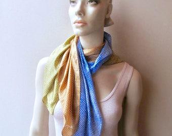 Schiaparelli silk scarf collection 1960 Glentex brand designer label scarves choice gold blue green