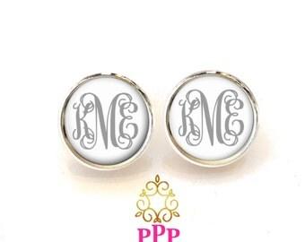 Gray Monogram Earrings Monogram Jewelry Monogrammed Earrings Initial Jewelry  -  Style 557