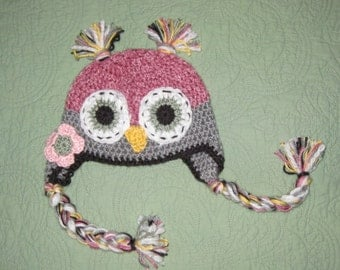 Pink Owl Hat  made to order in any size newborn to adult