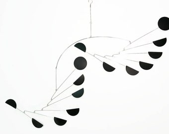 Large Mobile in Black Mid Century Modern - Dance Style Featuring Half and Full Circles - Calder Inspired