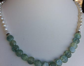 Necklace — Sterling Silver Star, Green Kyanite and Freshwater Pearls