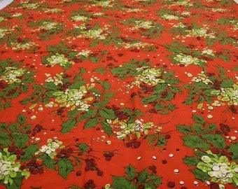 Vintage Tablecloth, Christmas Tablecloth, Red Tablecloth, Big Tablecloth, Tablecloth with Holly and Berries, Table Linens, Vintage Linens