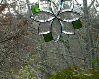 Clear Beveled Stained Glass window panel with light green accents
