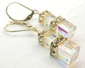 Ice Swarovski Crystal Earrings, Clear Cube, Gold Filled, Wedding Earrings, Bride Accessory, Bridal Drop, Bridesmaid Dangle Gift, Handmade