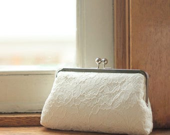 Ivory Lace Clutch | Bridal Purse | Monogram Clutch | Bridal Clutch | Wedding Clutch [Antoinette Clutch: Ivory on Off-White]