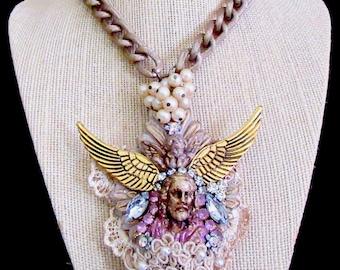 "Catholic Vintage And New Opulent Jesus ""Under His Wings"" Christ Ex-Voto Flaming Heart Handmade Necklace, Collar Catolico Cristo Jesus"