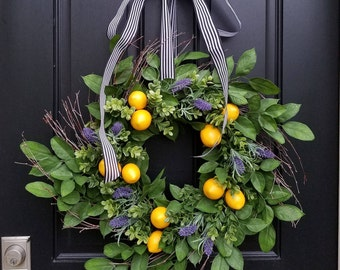 SUMMER WREATHS, Lemons Wreath, Yellow Lemons Wreath, Taste of Summer, Boxwood and Lemons, Summer Door Wreaths, Front Porch Wreaths