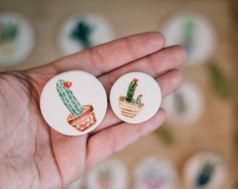 Cactus Brooch Pin, Cactus illustration, ceramic jewellery, ceramic cactus brooch, Plant jewelry, cactus pin, botanical jewelry