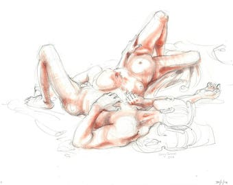 Nude pencil drawing with terracotta pastel. Life sketch. Reclining male + female nude.  Art by Nancy Farmer. LD-04-2016