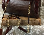 Very Feminine Rich Brown Lucite and Snake Skin Box Purse Clutch Lucite and Gold Link Shoulder Length Strap Handle Leather Gussets