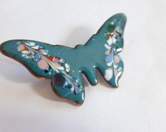 1960s Butterfly Pin Teal Blue Enamel on Copper Psychdelic Flower Child