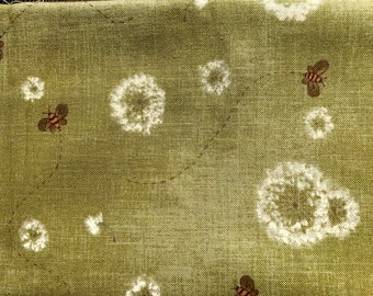 1/2 yard of premium Cotton fabric - light green with buzzing bees.  (136FH)